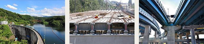 ダム建設や高速道路建設に伴う鉄筋工事